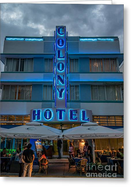 1930s Greeting Cards - Colony Hotel Art Deco District SOBE Miami Florida Greeting Card by Ian Monk