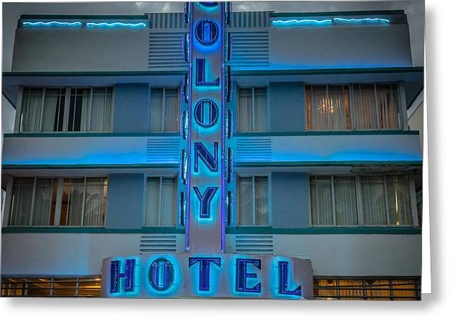 Treasures Greeting Cards - Colony Hotel Art Deco District SOBE Miami Florida - Square Greeting Card by Ian Monk