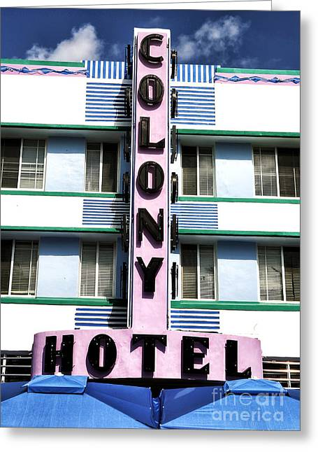 Artists Colony Greeting Cards - Colony Hotel Greeting Card by John Rizzuto