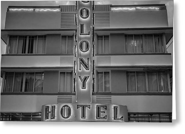Treasures Greeting Cards - Colony Hotel - SOBE Miami Florida - Black and White - Square Greeting Card by Ian Monk