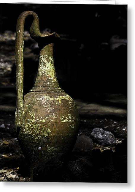 Pottery Pitcher Greeting Cards - Color Antique Pitcher Greeting Card by Jay Droggitis