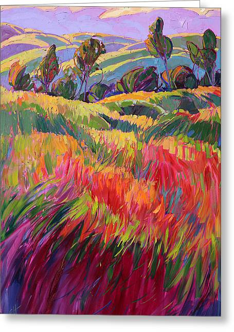 Oak Tree Paintings Greeting Cards - Color Bank Greeting Card by Erin Hanson