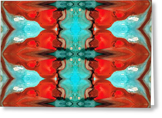 Buddhist Monks Greeting Cards - Color Chant - Red and Aqua Pattern Art By Sharon Cummings Greeting Card by Sharon Cummings