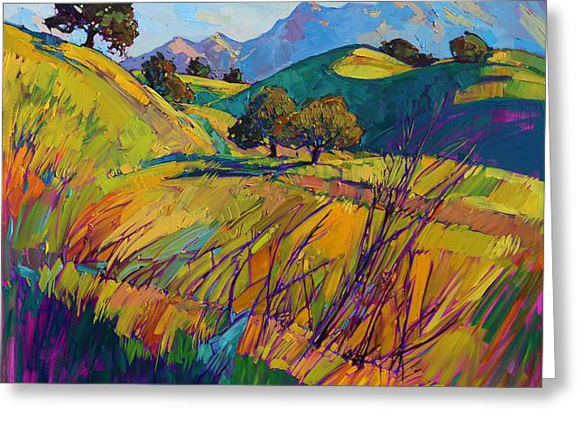 Rolling Hills Greeting Cards - Color Curves Greeting Card by Erin Hanson