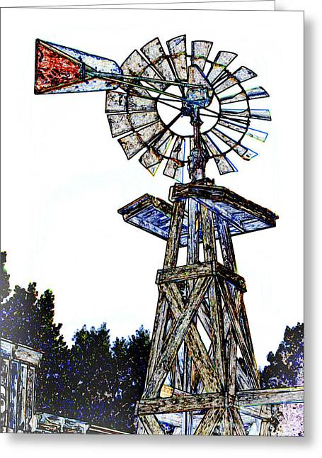 Western Pencil Drawings Greeting Cards - Color Drawing Antique Windmill 3005.05 Greeting Card by M K  Miller