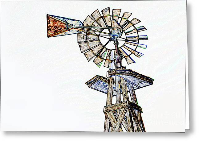 Abandoned Houses Drawings Greeting Cards - Color Drawing of Old Windmill 3009.04 Greeting Card by M K  Miller