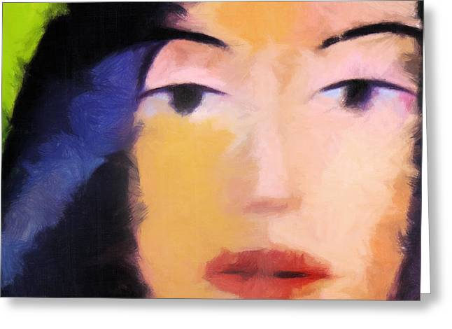 Woman Canvas Greeting Cards - Color Face Greeting Card by Lutz Baar