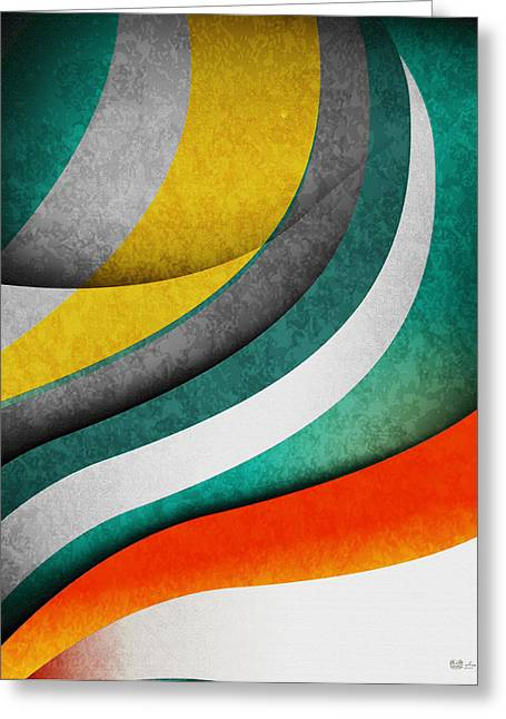 Perpetual Motion Greeting Cards - Color Harmonies - Teal Sunset Greeting Card by Serge Averbukh