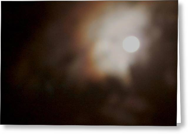 Synchronous Greeting Cards - Color in Clouds Passing By the Moon Greeting Card by Sandra Pena de Ortiz