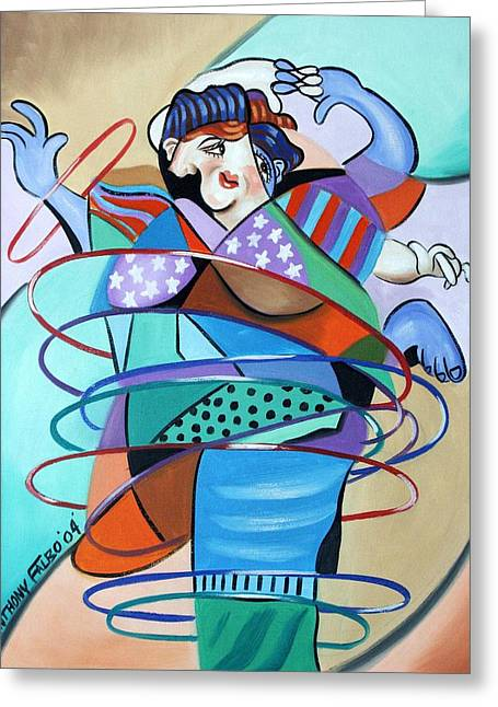 Abstract Woman In Color Greeting Cards - Color In Motion Greeting Card by Anthony Falbo