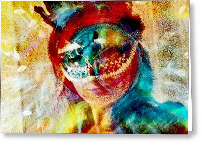 Color Mask Greeting Card by Linda Sannuti
