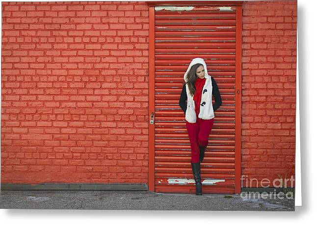 Red Wall Greeting Cards - Color Me Red Greeting Card by Evelina Kremsdorf