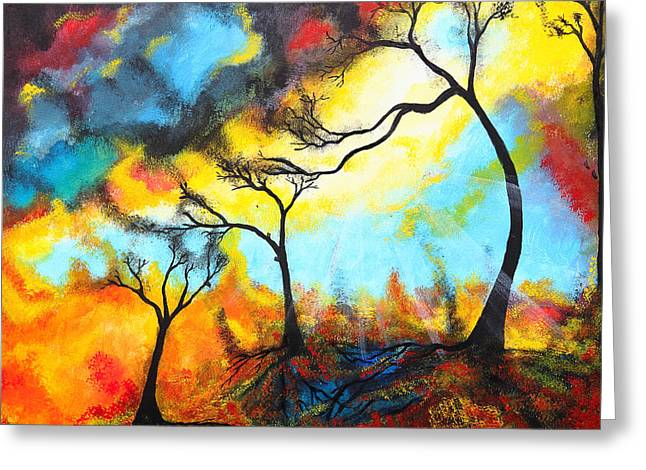Surreal Landscape Drawings Greeting Cards - Color mix Greeting Card by Nirdesha Munasinghe