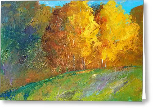 Park Scene Paintings Greeting Cards - Color Greeting Card by Nancy Merkle