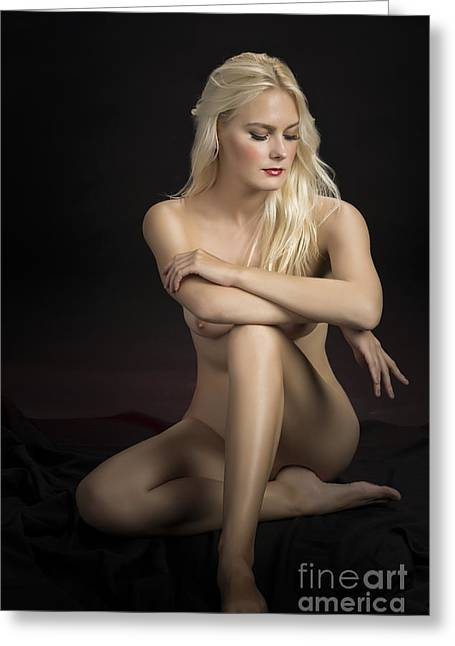 Sensual Greeting Cards - Color Nude Woman with Blond Hair On Floor 1302.02 Greeting Card by Kendree Miller