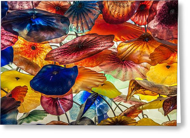Wall-hanging Glass Greeting Cards - Color of life Greeting Card by Milind Patil