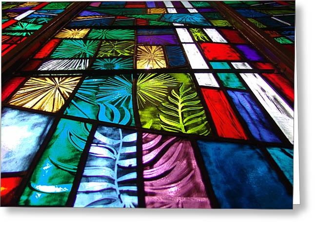 Stainglass Greeting Cards - Color of life Greeting Card by Stephen Dechert