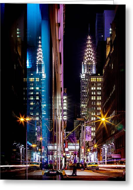 New York Night Greeting Cards - Color of Manhattan Greeting Card by Az Jackson