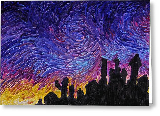 Abstract Greeting Cards - Color Of The Sky part1 Greeting Card by Felix Concepcion