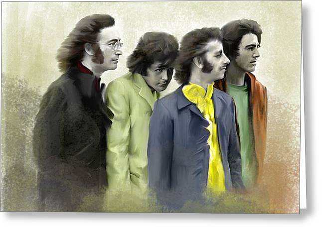 George Harrison Images Greeting Cards - Color of White The Beatles Greeting Card by Iconic Images Art Gallery David Pucciarelli