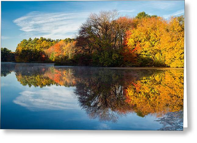 Wayside Inn Greeting Cards - Color on Grist Mill Pond Greeting Card by Michael Blanchette