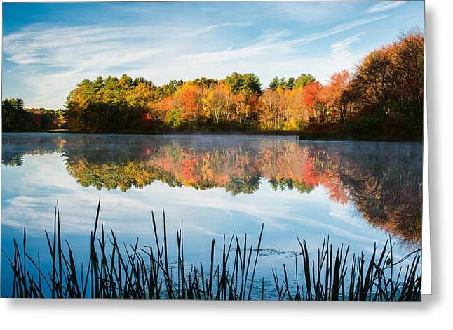 Wayside Inn Greeting Cards - Color on Grist Millpond Greeting Card by Michael Blanchette