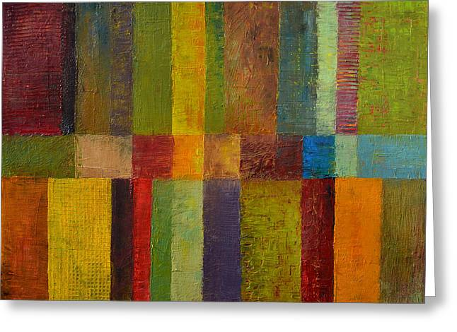 Geometric Effect Greeting Cards - Color Panel Abstract ll Greeting Card by Michelle Calkins