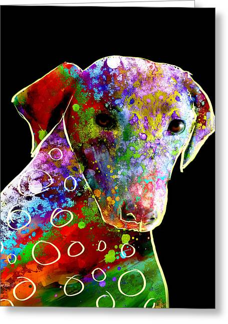 Dog Abstract Art Greeting Cards - Color Splash Abstract Dog Art  Greeting Card by Ann Powell