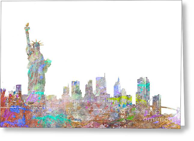 Horizontal Digital Art Greeting Cards - Color Splash New York Greeting Card by Aimee Stewart