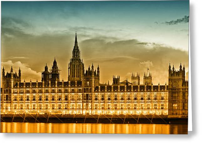 Old Towns Digital Art Greeting Cards - Color Study LONDON Houses of Parliament Greeting Card by Melanie Viola