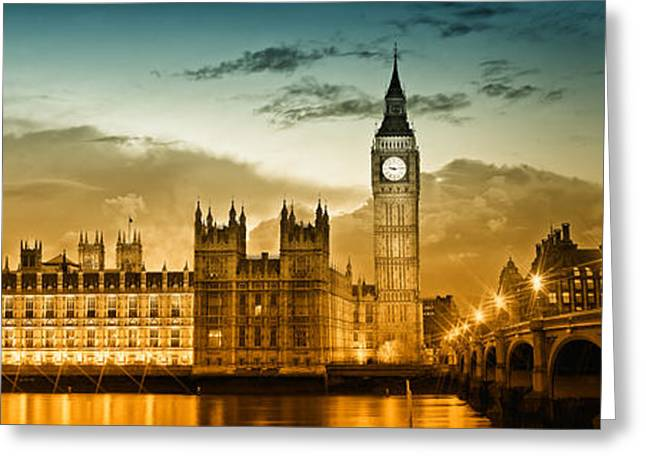 Stream Digital Art Greeting Cards - Color Study LONDON Houses of Parliament Greeting Card by Melanie Viola