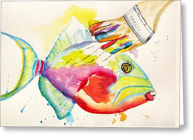 Triggerfish Paintings Greeting Cards - Color Transition - TriggerFish Greeting Card by Carlin Blahnik