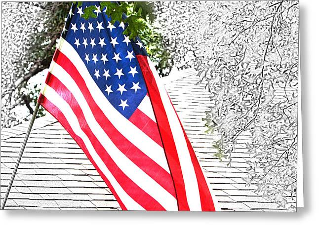 Redm Green Greeting Cards - Color US Flag in Sketch Greeting Card by Linda Phelps