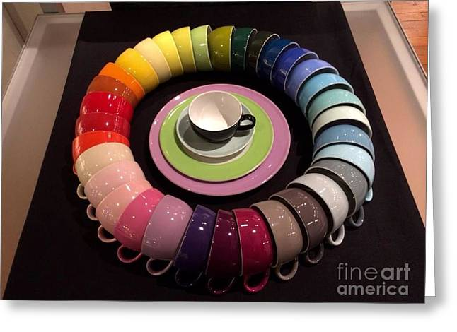 Most Favorite Photographs Greeting Cards - Color Wheel of Teacups Greeting Card by Barbara Chase