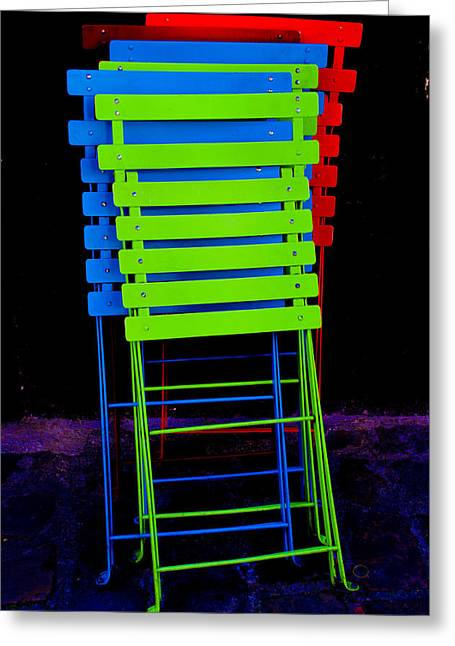 Sit-ins Greeting Cards - Colorful cafe chairs Greeting Card by Dany  Lison