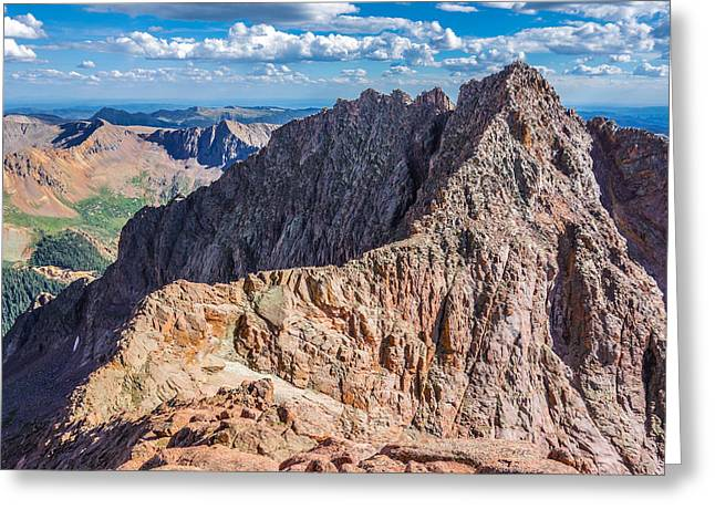 Climbing In Greeting Cards - Colorado 14er Mt. Eolus and the Sidewalk in the Sky Greeting Card by Aaron Spong