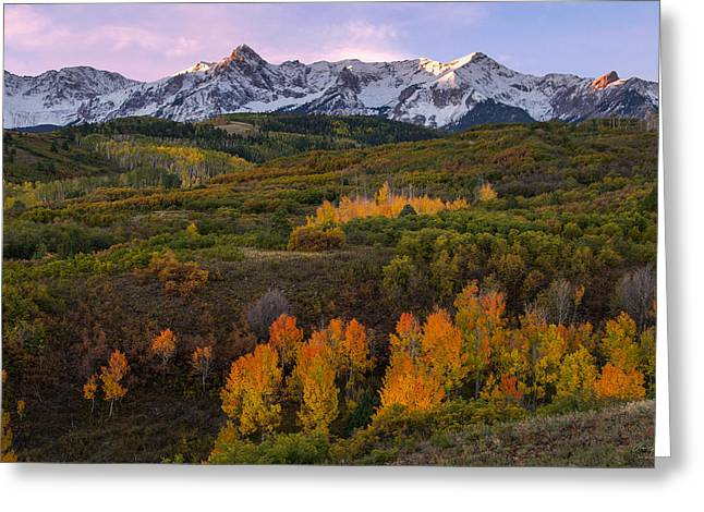 Majestic View Greeting Cards - Colorado Autumn Sunrise Greeting Card by Aaron Spong