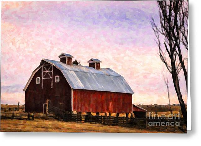 Tin Roof Greeting Cards - Colorado Barn Sunset Greeting Card by Janice Rae Pariza