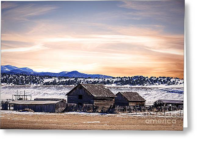 Wintery Barn Greeting Cards - Colorado Barns Landscape Greeting Card by Janice Rae Pariza