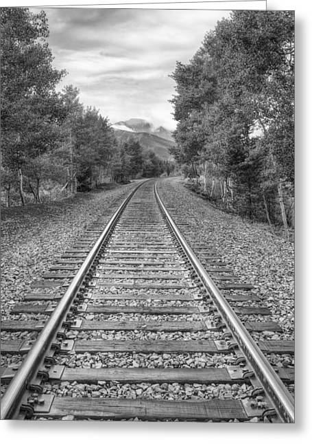Black And White Train Track Prints Greeting Cards - Colorado Black and White Images - Berthoud Pass Train Tracks 1 Greeting Card by Rob Greebon
