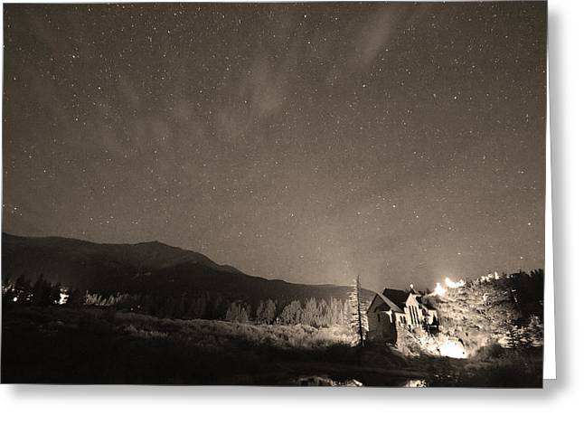 Colorado Chapel On The Rock Dreamy Night Sepia Sky Greeting Card by James BO  Insogna