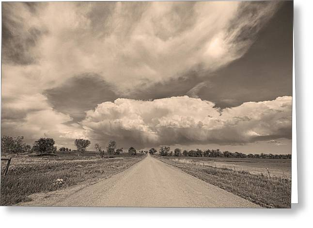 Gifts Greeting Cards - Colorado Country Road Sepia Stormin Skies Greeting Card by James BO  Insogna