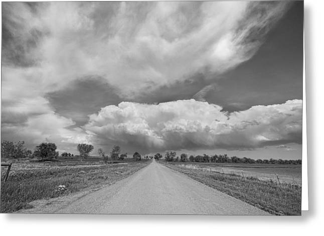 Colorado Country Road Stormin Skies BW Greeting Card by James BO  Insogna