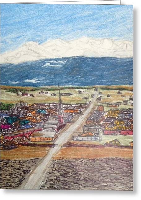 Small Towns Drawings Greeting Cards - Colorado Dayz  Greeting Card by Christine Degyansky