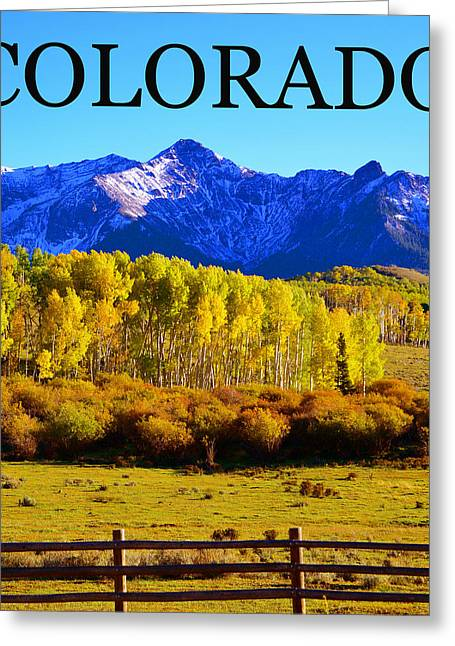 Colorado Mountain Posters Greeting Cards - Colorado FA poster work Greeting Card by David Lee Thompson