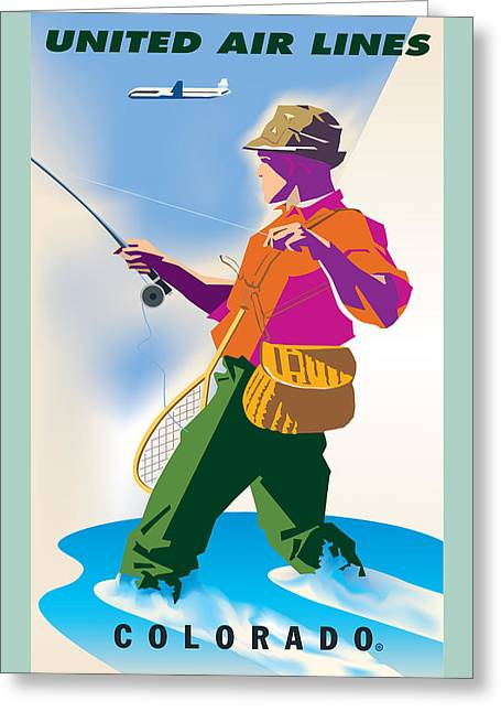 Antique Digital Art Greeting Cards - Colorado Fishing Greeting Card by Gary Grayson