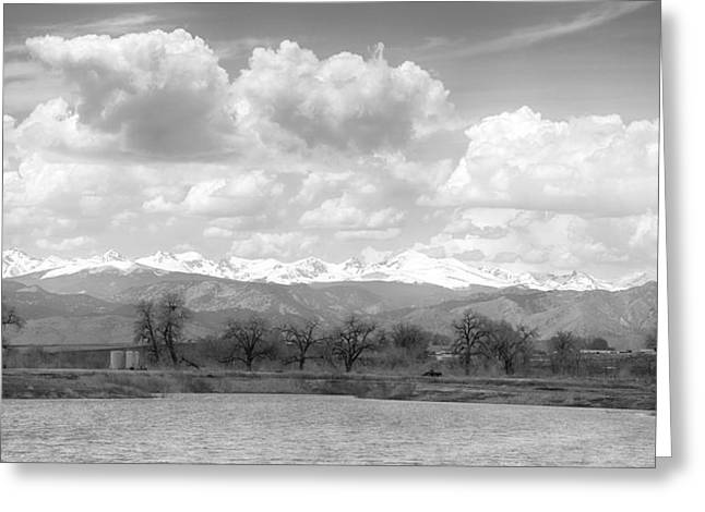 Snow Tree Prints Greeting Cards - Colorado Front Range Rocky Mountains Panorama BW Greeting Card by James BO  Insogna