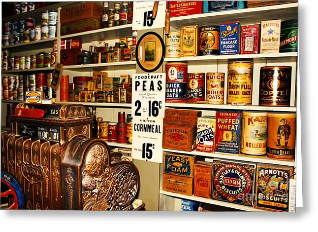 Colorado General Store Supplies Greeting Card by Janice Rae Pariza