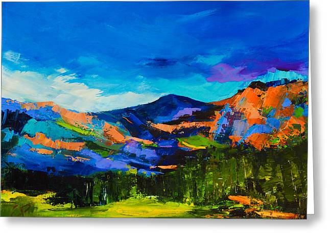 Vivid Colour Paintings Greeting Cards - Colorado Hills Greeting Card by Elise Palmigiani