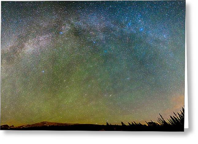 Arapaho Greeting Cards - Colorado Indian Peaks Milky Way Panorama Greeting Card by James BO  Insogna